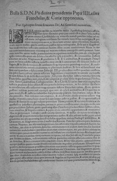 Blado - Bolla di Pio IV su franchigie e malefici
