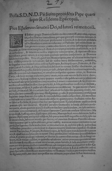 Blado: bolla di Pio IV sulle residenze episcolali