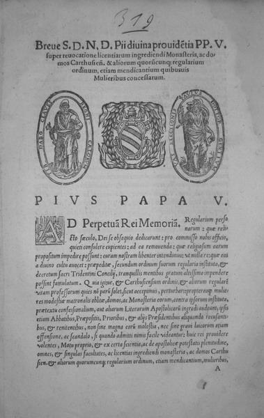 Blado: Breve di Pio V sui monasteri