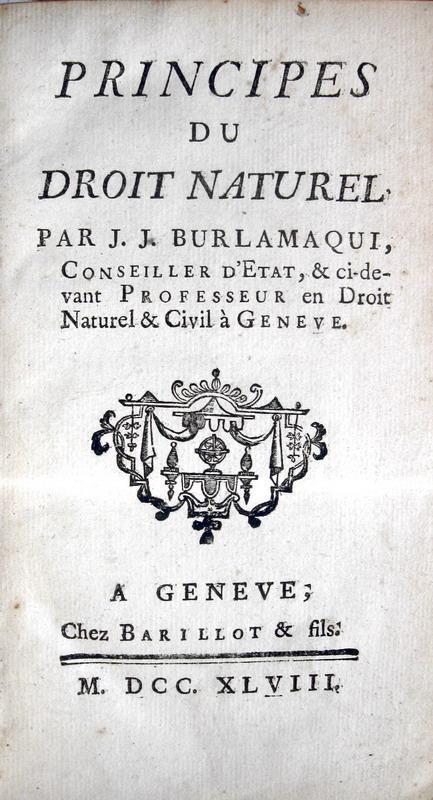 Burlamaqui - Principes du droit naturel - 1748