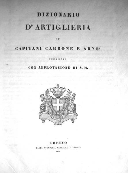 Carbone-Arnò - Dizionario di artiglieria