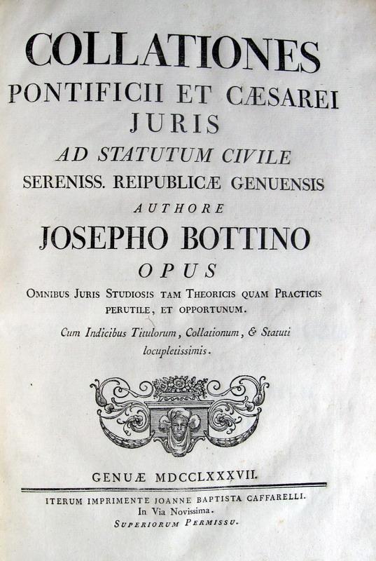 Statuti di Genova - edizione Bottino - 1787