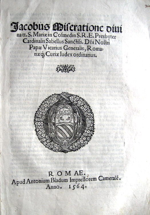 Savelli - Sopra il matrimonio clandestino (Blado)