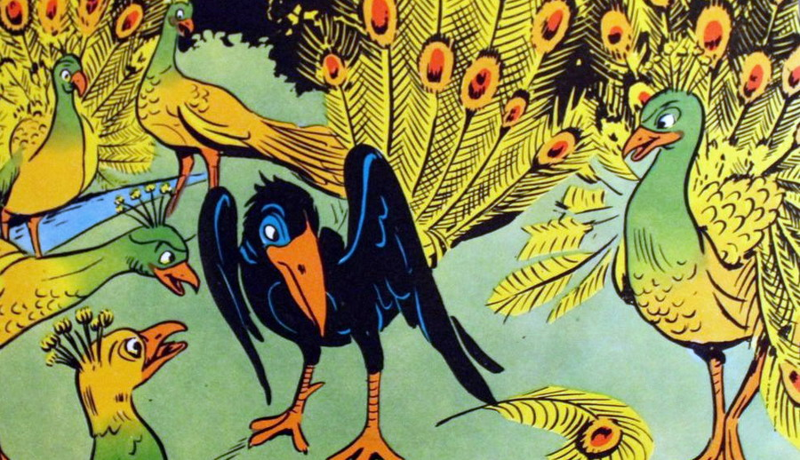 Fedro - Il corvo superbo e i pavoni