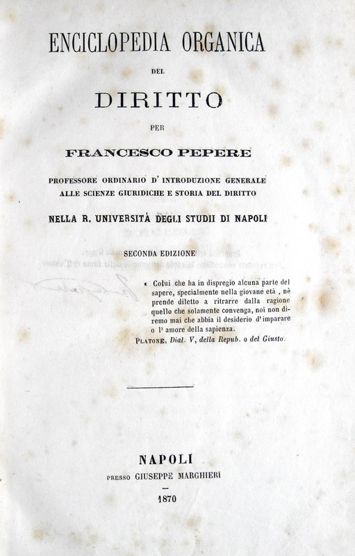 Francesco Pepere - Enciclopedia organica del diritto - 1870
