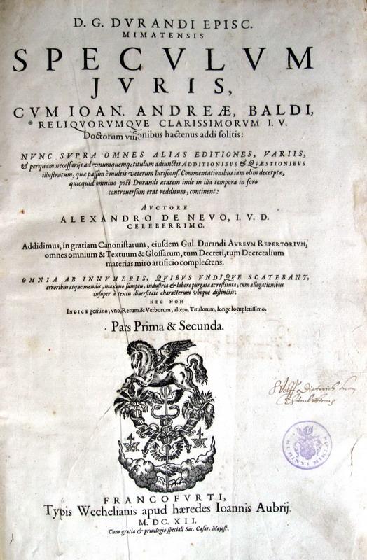 Gulielumus Durandus - Speculum iuris - 1612