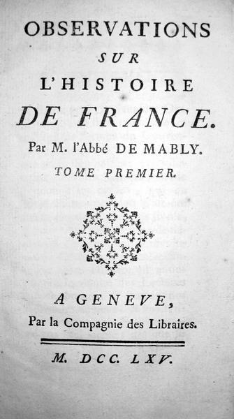 Mably - Observations sur l'histoire de France