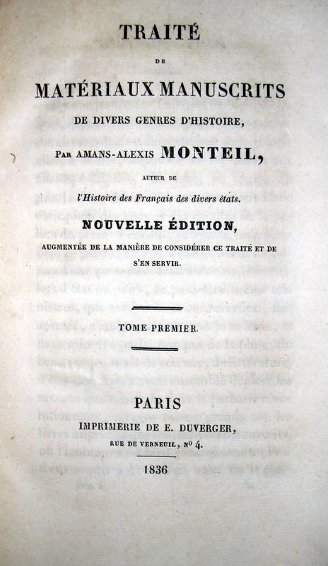 Monteil - Traite de materiaux manuscrits - 1836