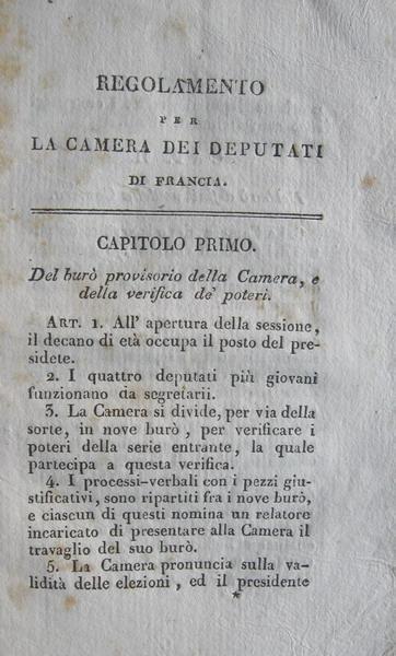 Regolamento per la camera dei deputati di francia 1820 for Camera dei deputati on line