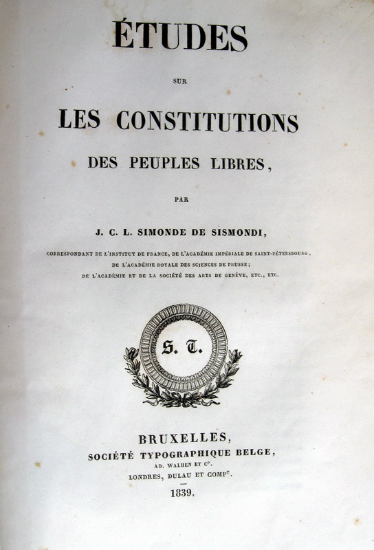 Simonde de Sismondi - Etudes sur les constitutions